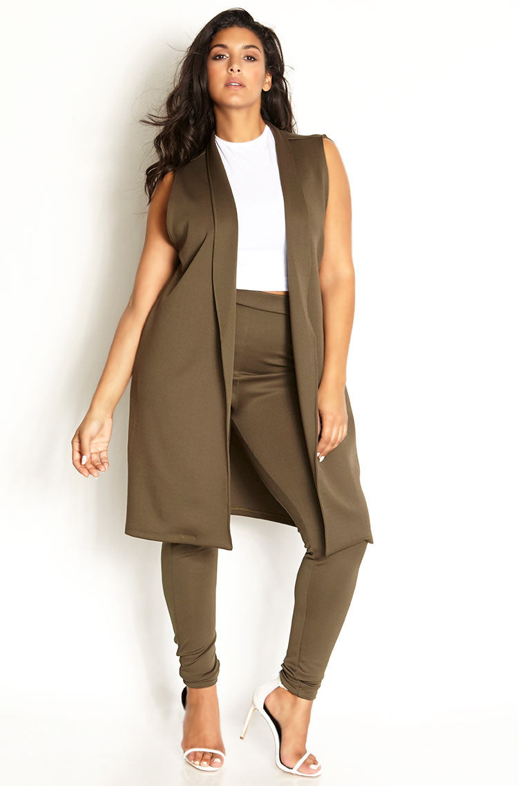 Olive Sleeveless Longline Blazer plus sizes