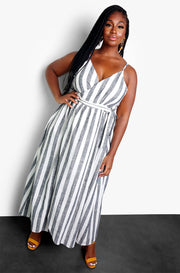 Charcoal Plunge Maxi Dress Plus Sizes