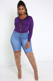 Purple Caged Bodysuit Plus Sizes