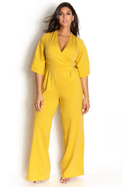 Mustard Pleated Pant Jumpsuit plus sizes