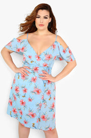 Pale Blue Over The Shoulder Wrap Dress Plus Sizes