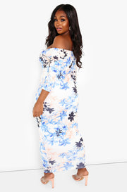 Ivory Floral Over The Shoulder Bodycon Maxi Dress Plus Sizes