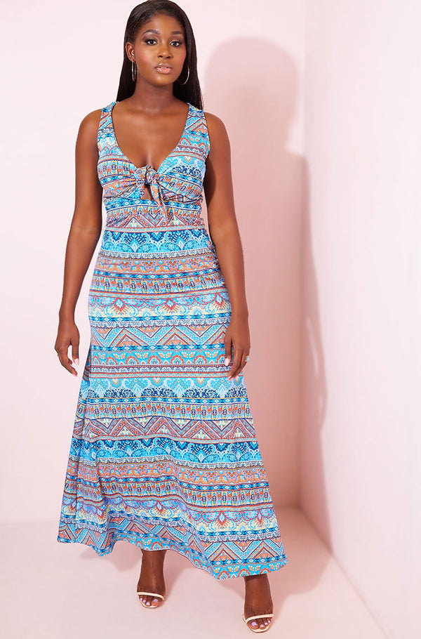 Blue High Slit Skater Maxi Dress plus sizes