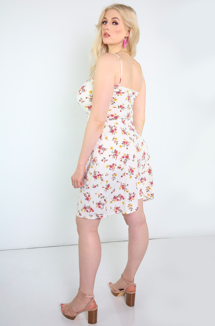 White Floral A-Line Mini Dress Plus Sizes