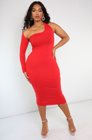 "Rebdolls ""Dirty Martini"" One Shoulder Midi Dress"