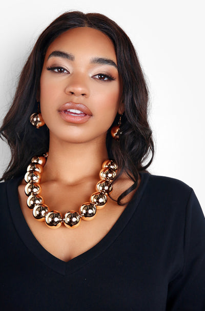 Gold Statement Gold Pearl Necklace