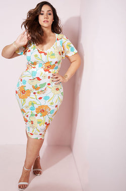 White Flutter Sleeve Midi Dress plus sizes