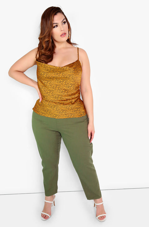 Mustard Satin Cowl Neck Top Plus Sizes