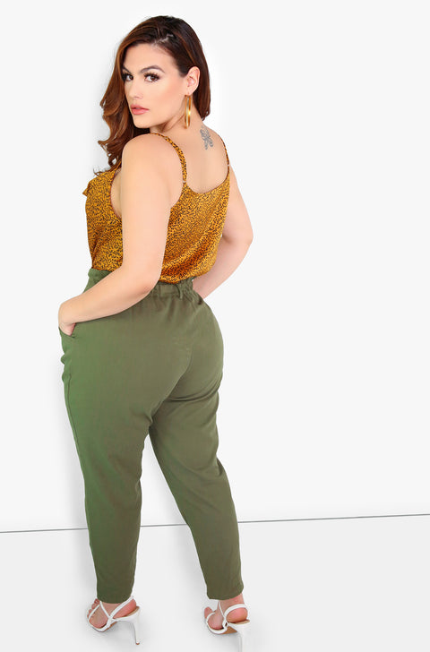 Olive High Waist Cigarette Pants Plus Sizes