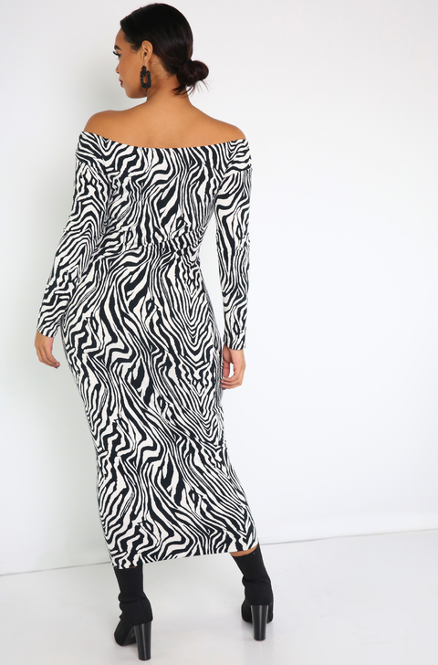 Black Bodycon Zebra Print Maxi Dress Plus Sizes