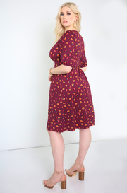 Burgundy Floral Skater Mini Dress Plus Sizes