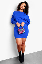 Blue Plus Size Over The Shoulder Long Sleeve Bodycon Mini Dress