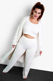 Ivory Terry Cloth Zip Up Robe with Pockets Plus Sizes