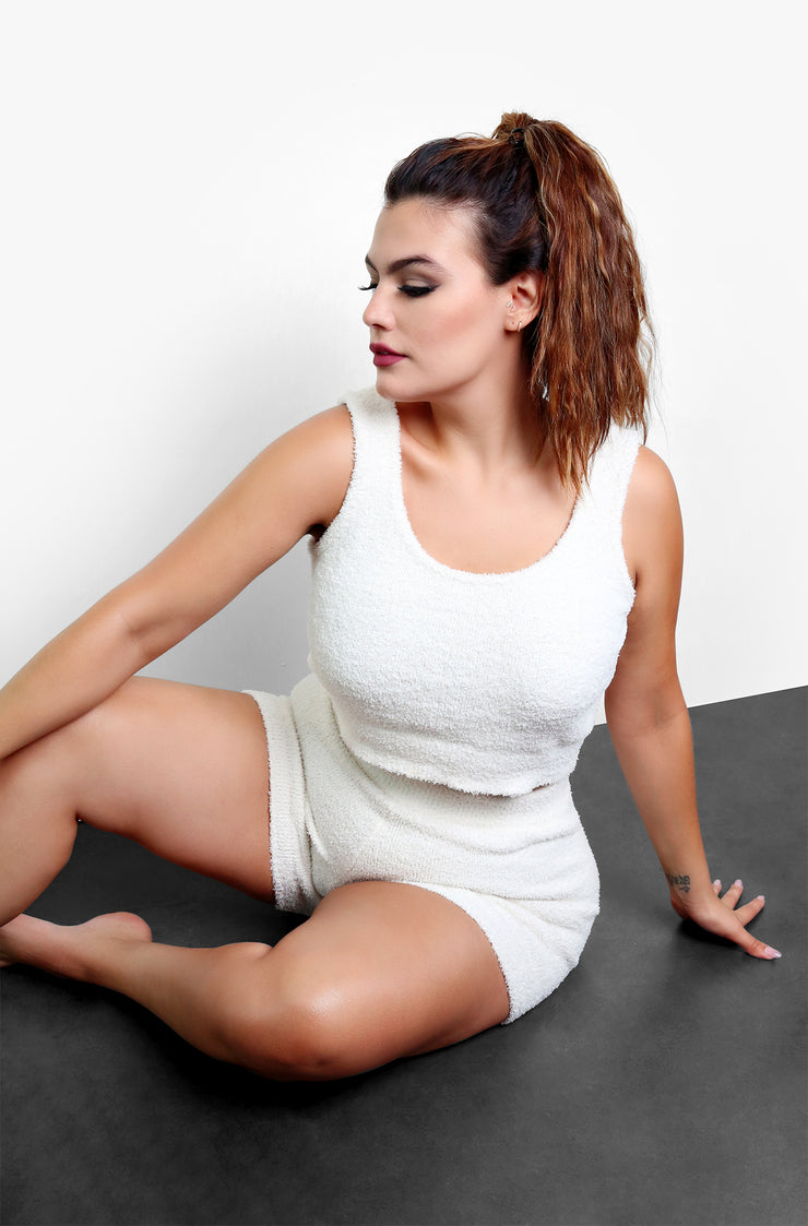 "Rebdolls ""Give It A Rest"" Terry Cloth High Waisted Shorts - Ivory"