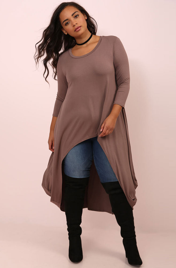 Mocha Draped High Low Top plus sizes