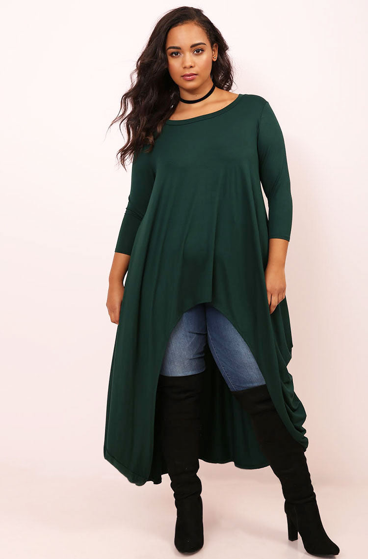 Green Draped High Low Top plus sizes
