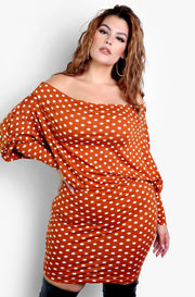 Brown Polka Dot Over The Shoulder Bodycon Mini Plus Sizes