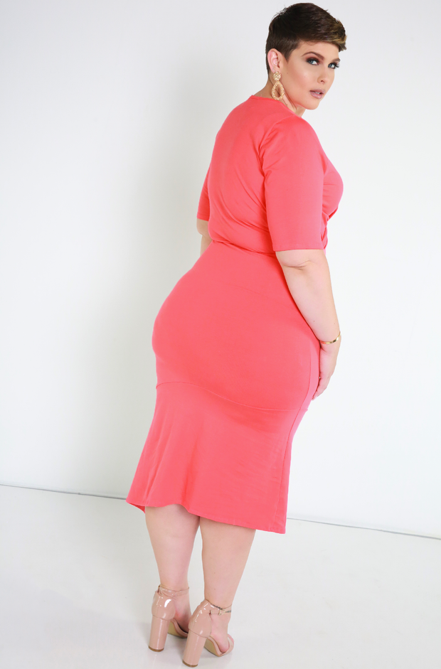 Coral Crossover Midi Dress Plus Sizes