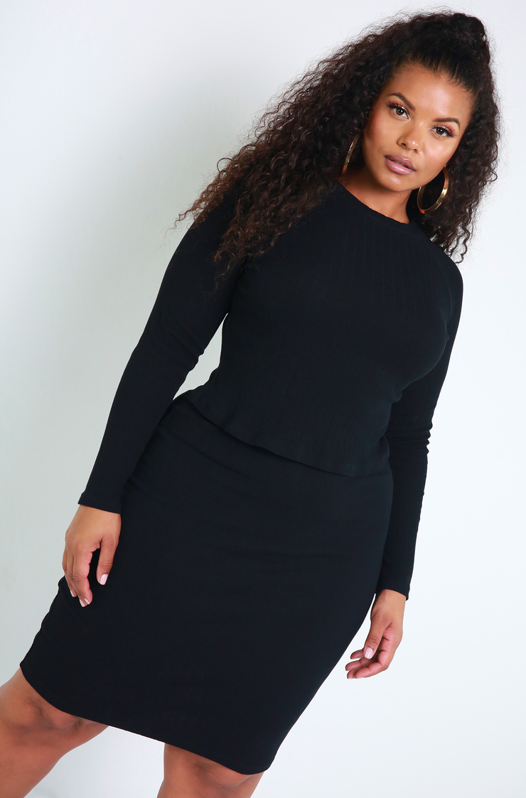 Black Ribbed Sweater Midi Skirt Plus Sizes