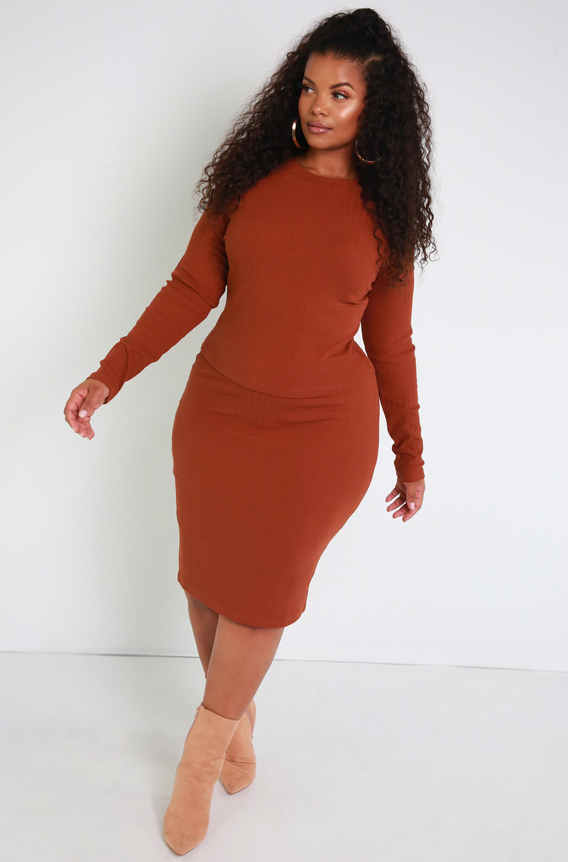 Brown Ribbed Sweater Midi Skirt Plus Sizes