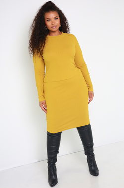 Chartreuse Ribbed Sweater Midi Skirt Plus Sizes