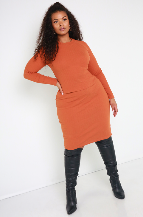 Copper Ribbed Sweater Midi Skirt Plus Sizes