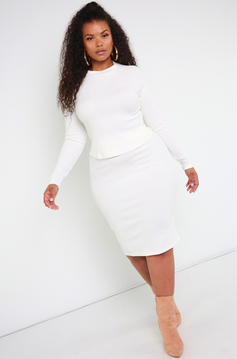 Bone White Ribbed Sweater Midi Skirt Plus Sizes