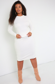 Bone White Ribbed Sweater Top Plus Sizes