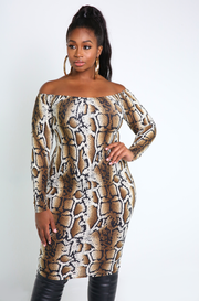 Brown Snake Print Bodycon Midi Dress Plus Sizes