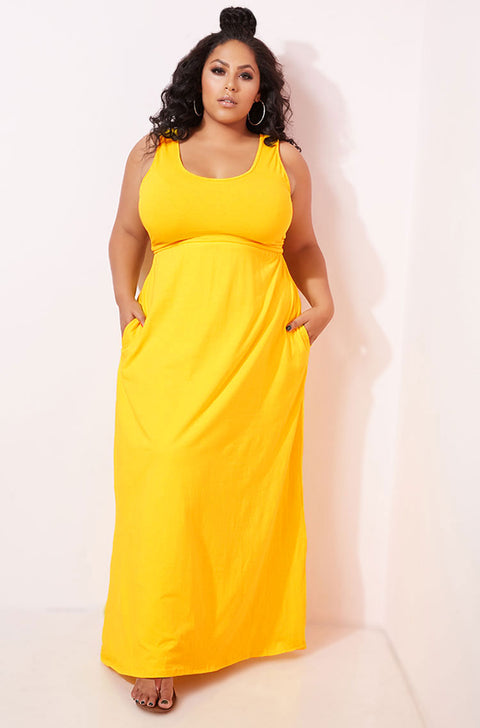 Yellow Skater Tank Maxi Dress With Pockets plus sizes