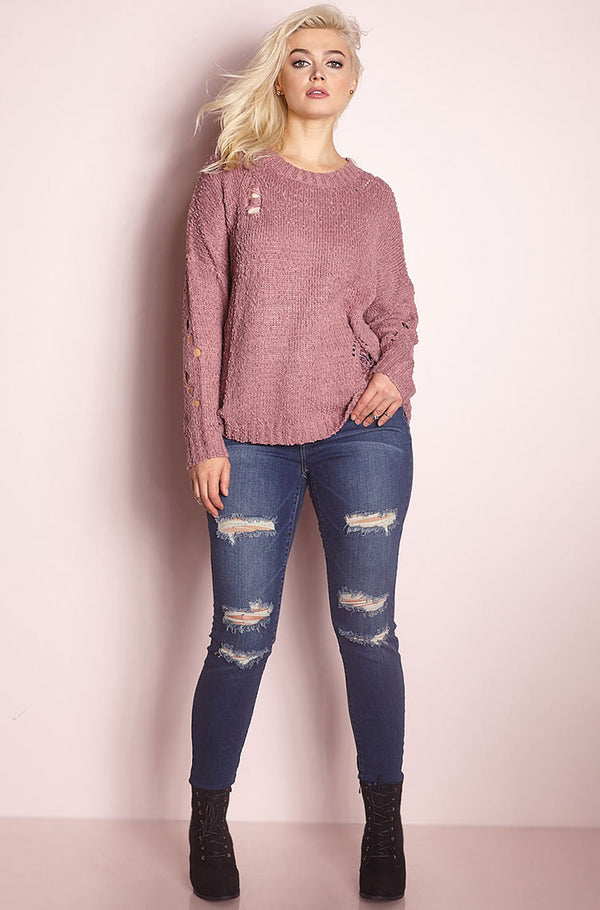 Dark Mauve Ripped Up Sweater plus sizes