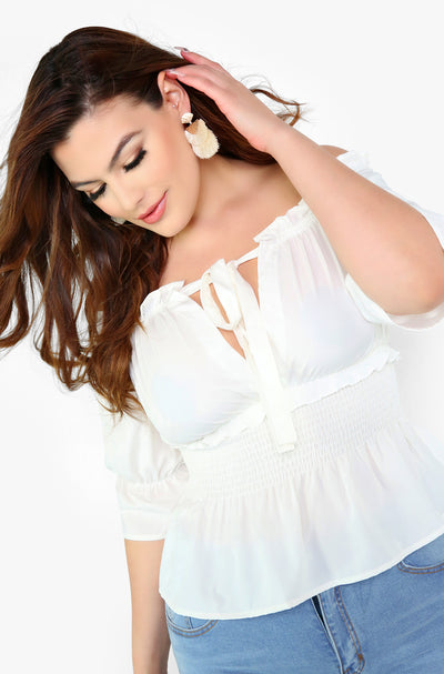 White Over The Shoulder Smocked Peasant Top Plus Sizes