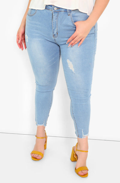 Light Blue Light Wash Skinny Jeans Plus Sizes