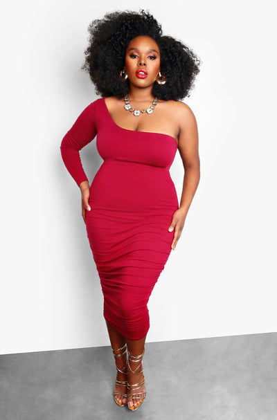 Burgundy Plus Size One Shoulder Ruched Bodycon Midi Dress