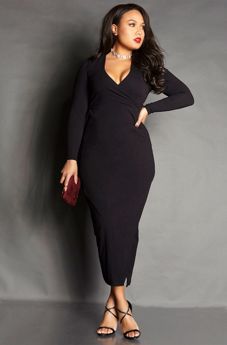 Black Ruched Bodycon Long Sleeve Maxi Dress plus sizes