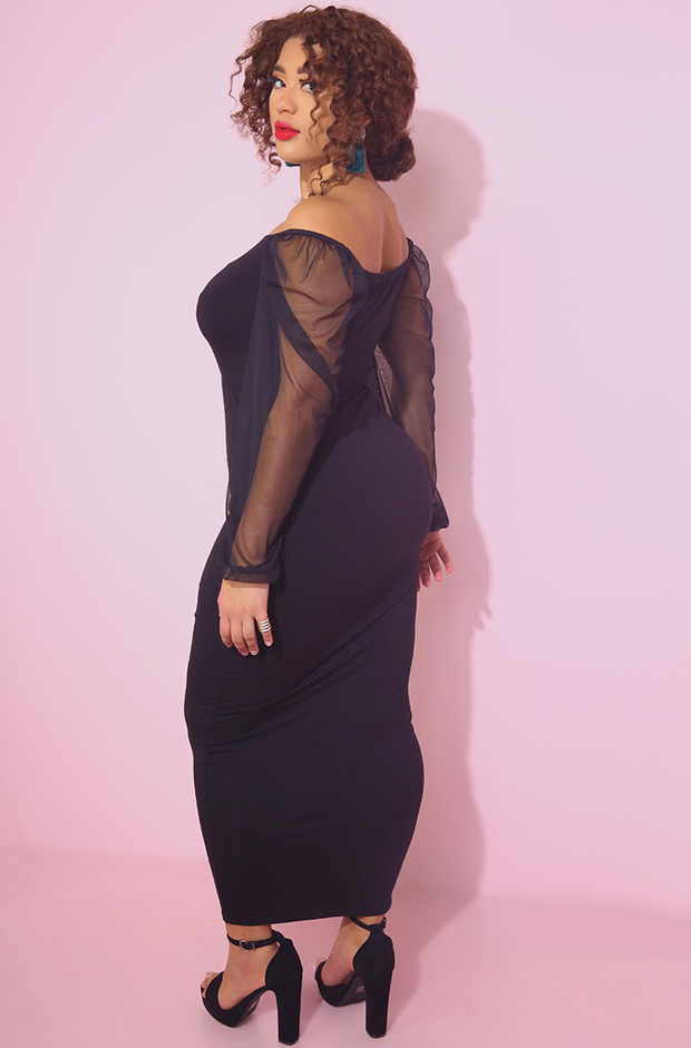 Black Mesh Sleeve Bodycon Maxi Dress Squared Neckline Plus Sizes