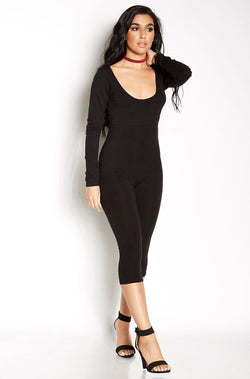 Black Scoop Neck Cropped Jumpsuit plus sizes