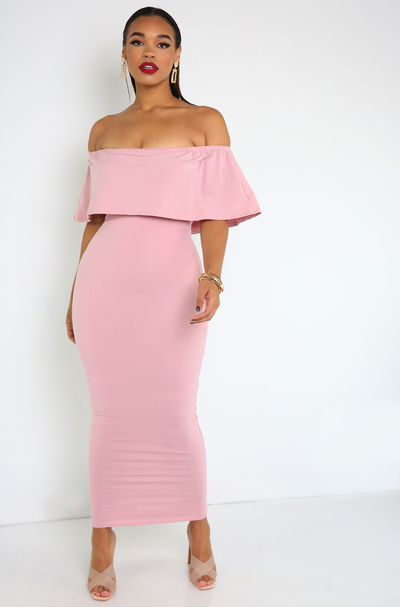 "Rebdolls ""Halo"" Over The Shoulder Ruffled Maxi Dress"