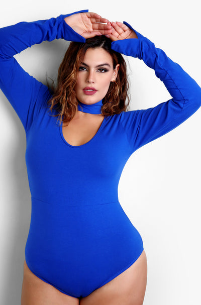 Royal Blue Cut Out Long Sleeve Plus Size Bodysuit