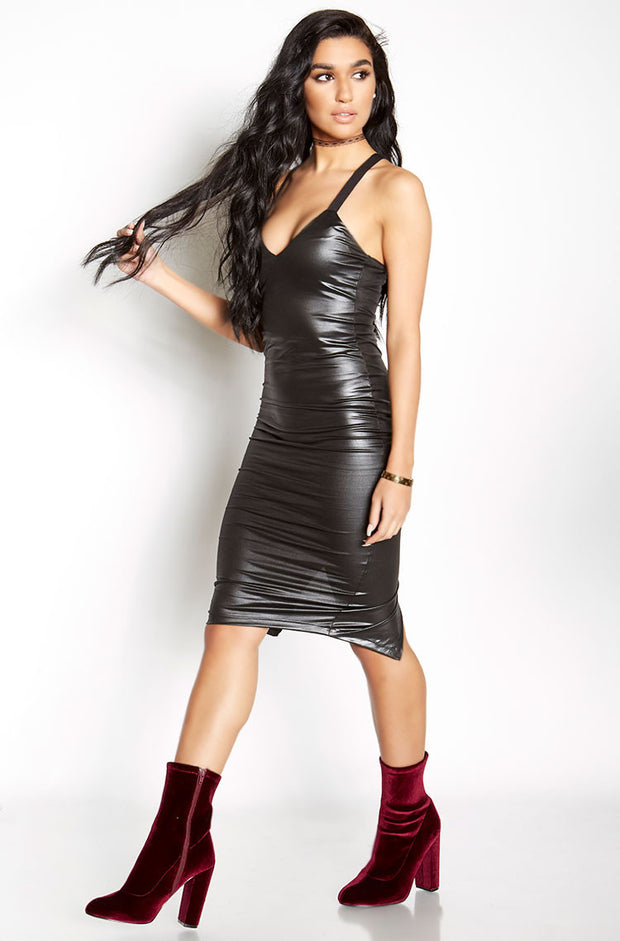 Black Faux Leather Bodycon V-Neck Midi Dress plus sizes