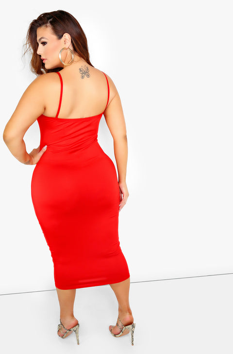 Red Caged Midi Dress Plus Size
