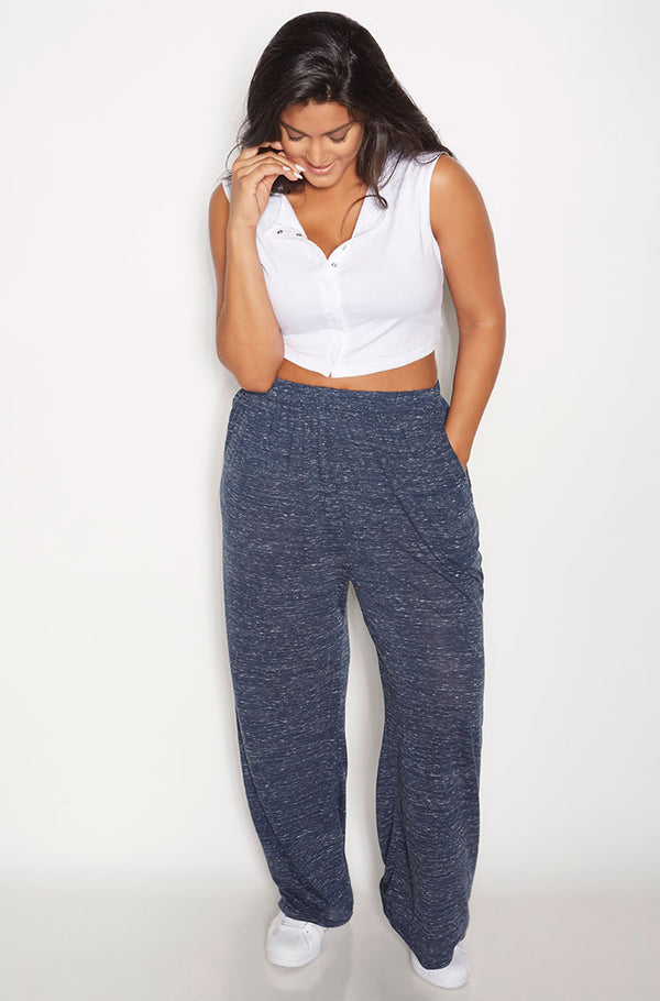 Gray Heathered Palazzo Pants With Pockets Plus Sizes