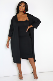 Black Spaghetti Strap Bodycon Midi Dress Plus Sizes