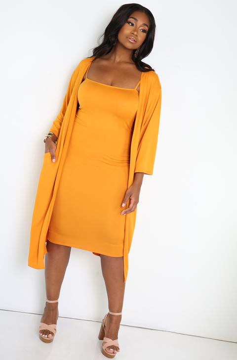 Mustard Spaghetti Strap Bodycon Midi Dress Plus Sizes