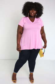 Pink Side Slit Top Plus Sizes