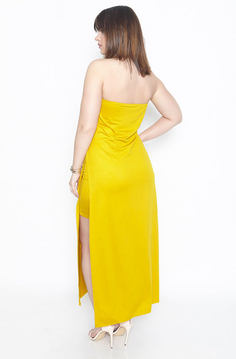 Mustard Side Slit Strapless Shift Maxi Dress plus sizes