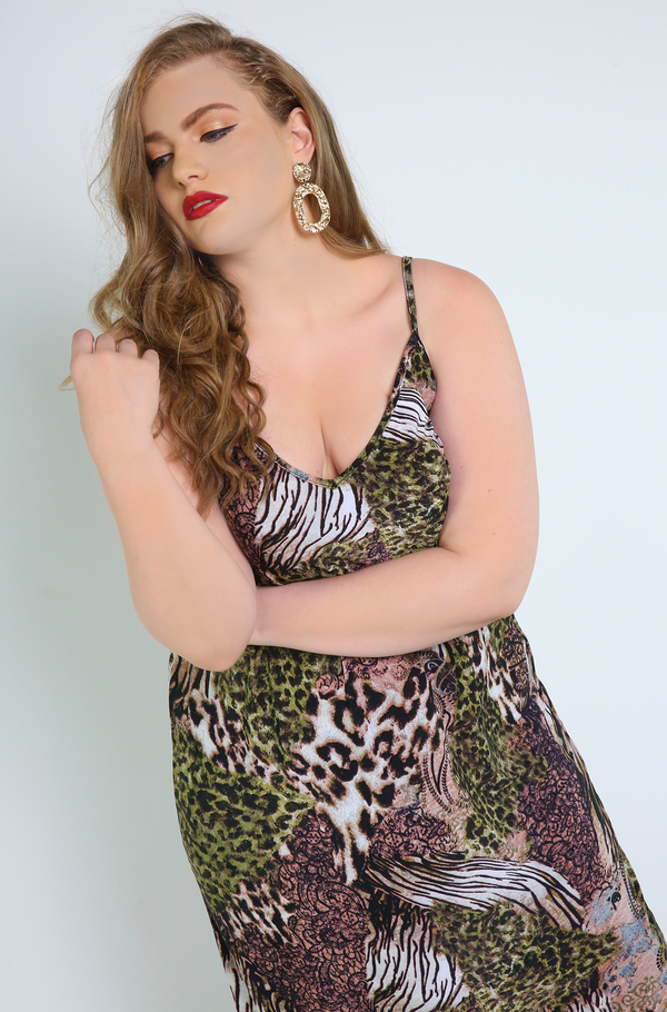 "Rebdolls ""High Advantage"" Animal Print Slip Dress"