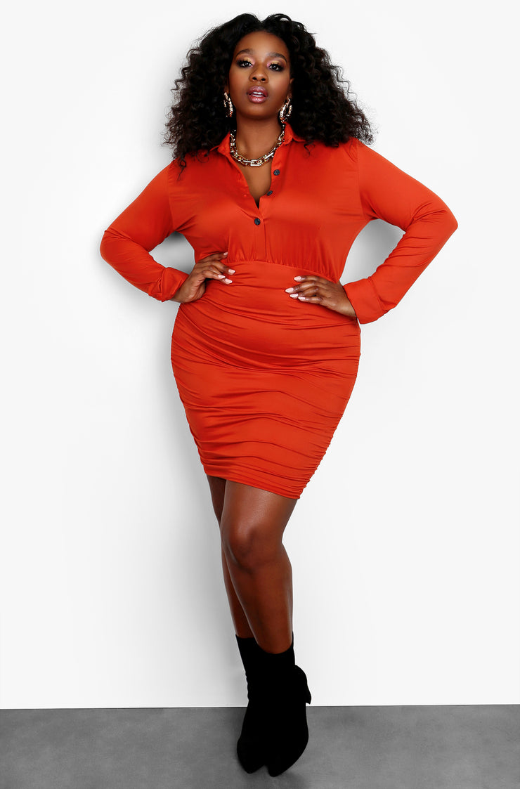 Rust Red Button Up Long Sleeve Bodycon Mini Dress