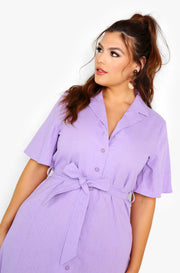 "Lilac ""Hold Back"" Button Down A-Line Dress w. Belt Plus Sizes"
