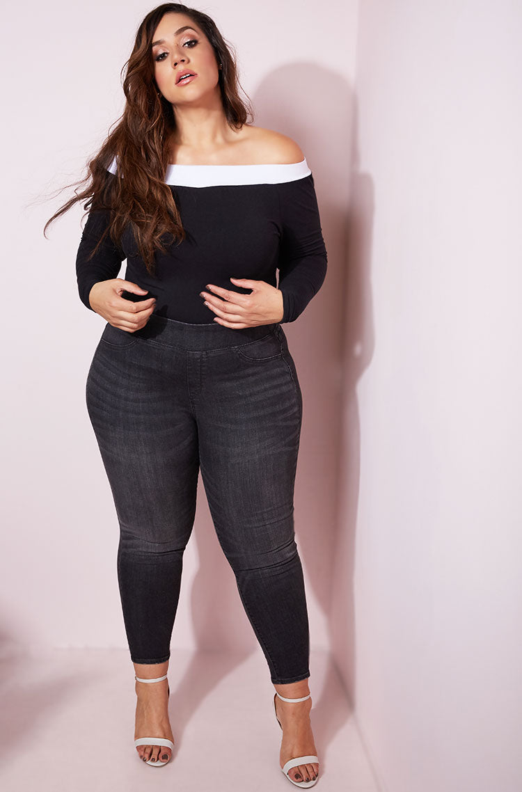 Black Over The Shoulder Bodysuit plus sizes